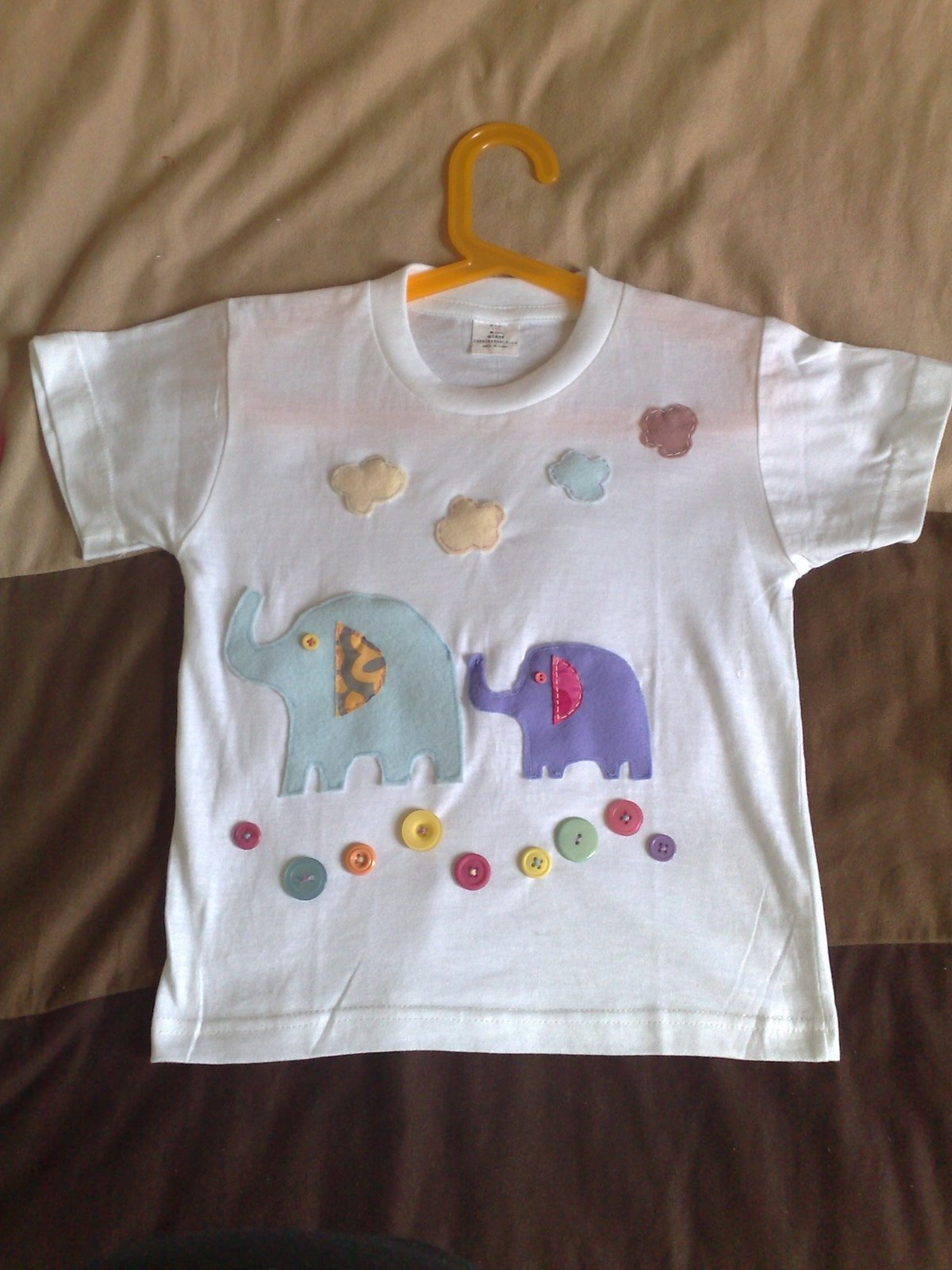 I drew two patterns, one for the adult elephant and one for the baby ...
