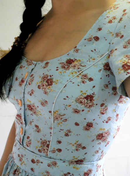 blue country frock CU