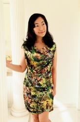 digital print drape dress