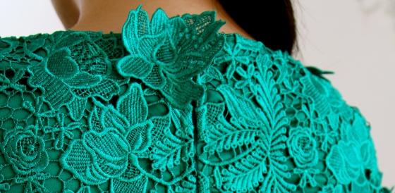 Green lace dress back CU