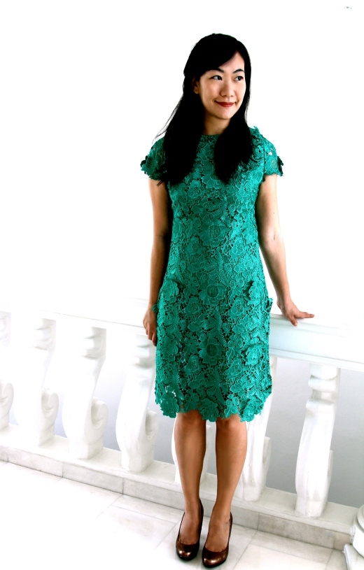 Green lace dress front