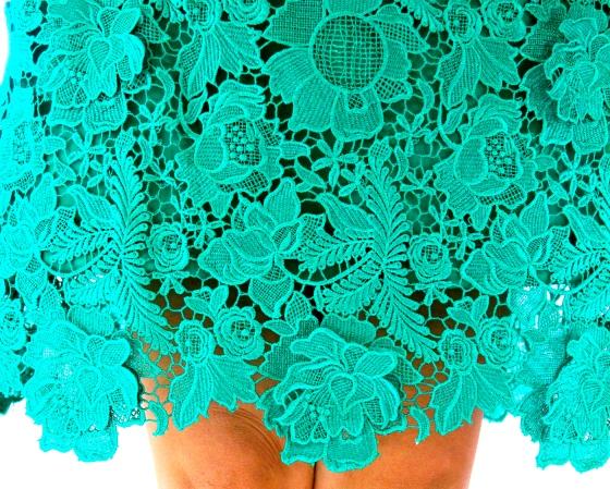 Green lace hem