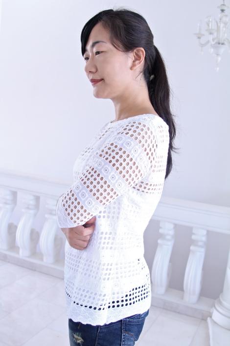 White eyelet Laurel blouse side