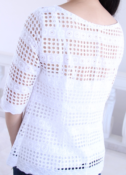 White eyelet Laurel blouse back