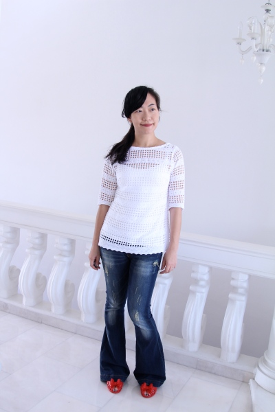 White eyelet Laurel blouse
